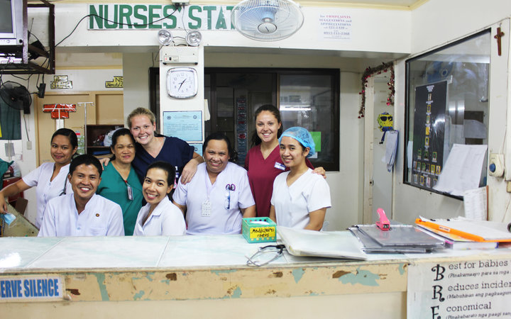 Students with their nursing supervisors in Iloilo