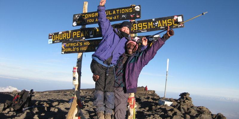 At the summit of Mount Kilimanjaro