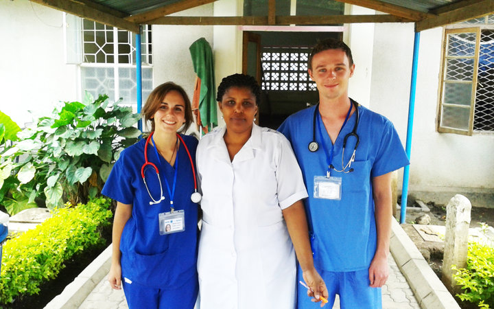 Medical students with one of their supervisors in Arusha