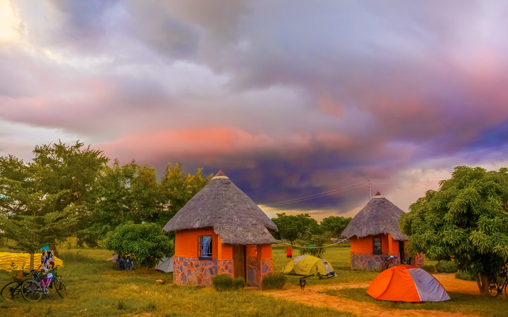 Kalomo, Zambia - April 6, 2015: Picturesque sunset  landscape over camp near Kalomo in Zambia